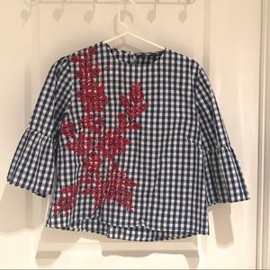Zara check blouse with embroidery.